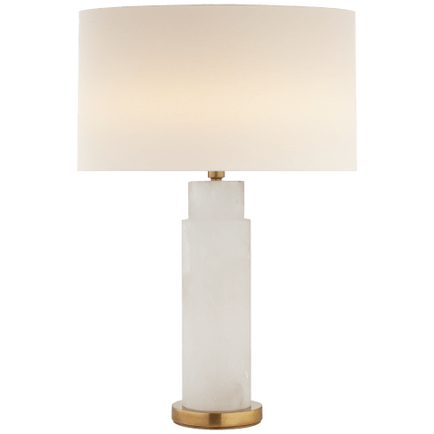 Yvette Table Lamp in Alabaster with Linen Shade