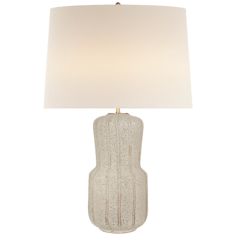 Aumar Large Table Lamp in Volcanic Ivory with Linen Shade
