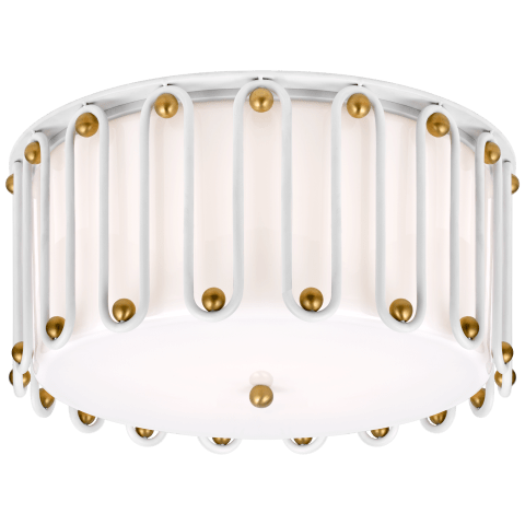 Molene Large Flush Mount in White and Gild with White Glass
