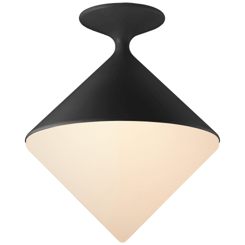 Sarnen Small Flush Mount in Matte Black with White Glass