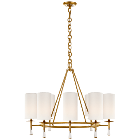 Drunmore Large Chandelier in Hand-Rubbed Antique Brass and Crystal with Linen Shades