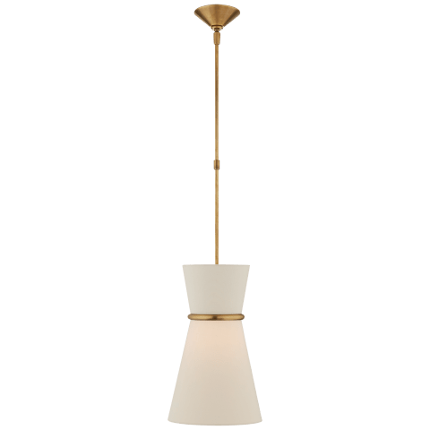 Clarkson Small Single Pendant in Hand-Rubbed Antique Brass with Linen Shade