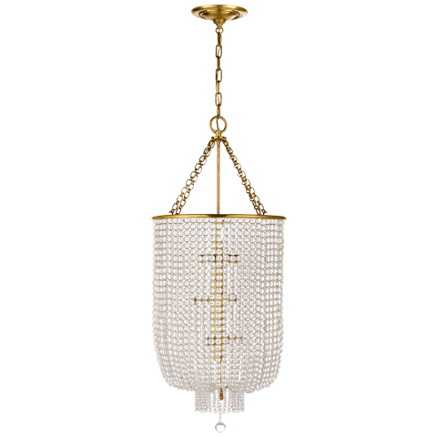 Jacqueline Long Chandelier in Hand-Rubbed Antique Brass with Clear Glass