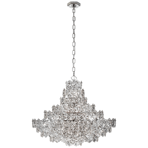 Lauzet Chandelier in Polished Nickel with Crystal Glass