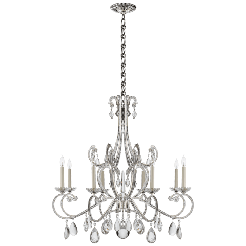 Montmartre Chandelier in Polished Nickel with Crystal