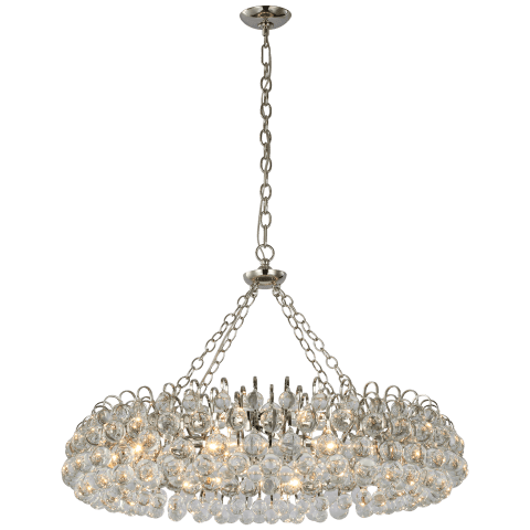 Bellvale Large Ring Chandelier in Polished Nickel with Crystal