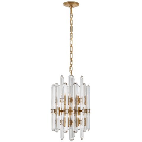 Bonnington Tall Chandelier in Hand-Rubbed Antique Brass