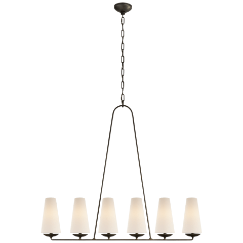Fontaine Linear Chandelier in Aged Iron with Linen Shades
