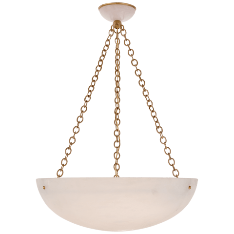O'Connor Large Chandelier in Hand-Rubbed Antique Brass with Alabaster