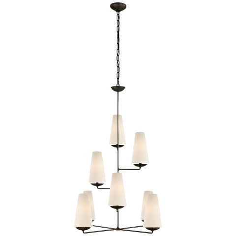 Fontaine Vertical Chandelier in Aged Iron with Linen Shades