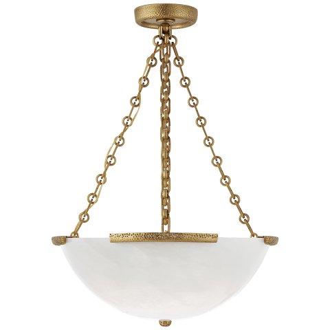 Mezan Medium Chandelier in Hand-Rubbed Antique Brass with White Strie Glass