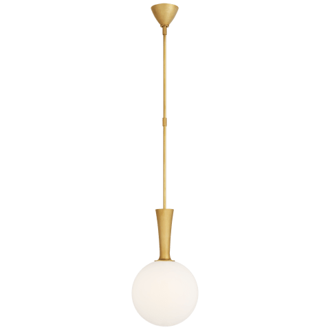 Sesia Small Globe Pendant in Hand-Rubbed Antique Brass with White Glass