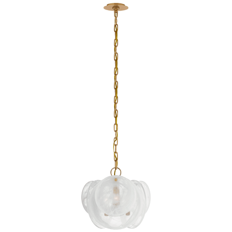 Loire Petite Chandelier in Gild with White Strie Glass