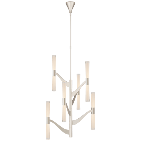 Brenta Medium Tall Chandelier in Polished Nickel with White Glass