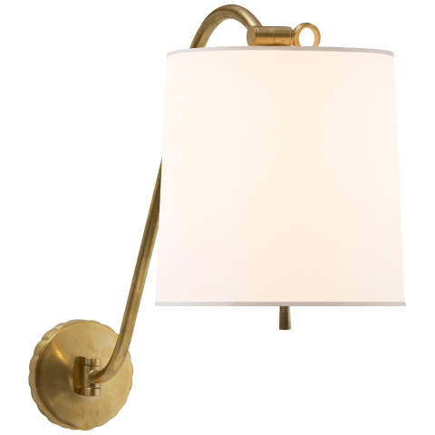 Understudy Sconce in Soft Brass with Silk Shade