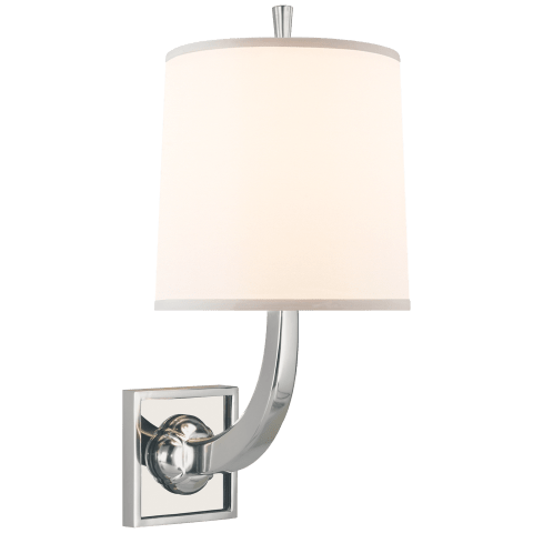 Petal Sconce in Soft Silver and Smoke Mirror Base with Silk Shade