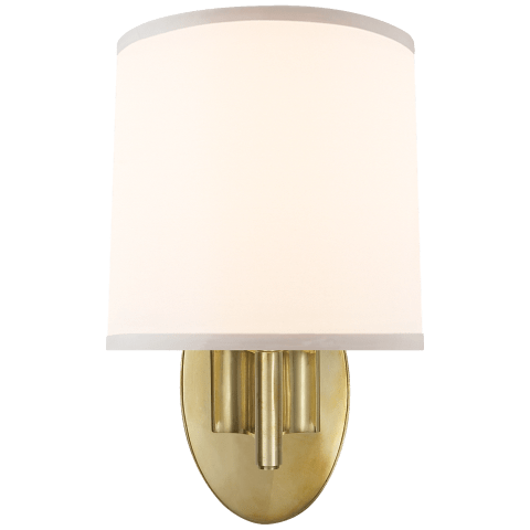 Graceful Ribbon Single Sconce in Soft Brass with Silk Shade