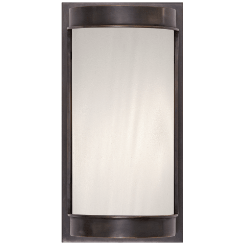 Normandy Small Flat Top Sconce in Bronze with Frosted Glass