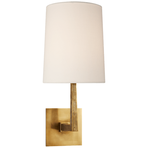 Ojai Medium Single Sconce in Soft Brass with Linen Shade