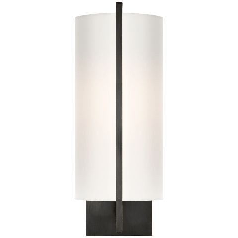 Framework Sconce in Bronze with Silk Shade