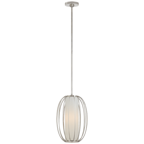 Carousel Small Oblong Lantern in Polished Nickel with Linen Shade