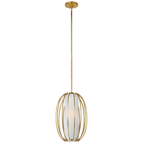 Carousel Small Oblong Lantern in Soft Brass with Linen Shade