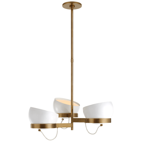 Lightwell Medium Triple Chandelier in Soft Brass with White Shades
