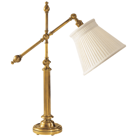 Pimlico Table Lamp in Antique-Burnished Brass with Linen Collar Shade