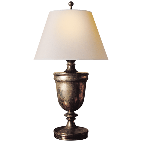 Classical Urn Form Large Table Lamp in Sheffield Nickel with Natural Paper Shade