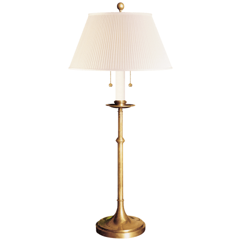Dorchester Club Table Lamp in Antique-Burnished Brass with Silk Shade