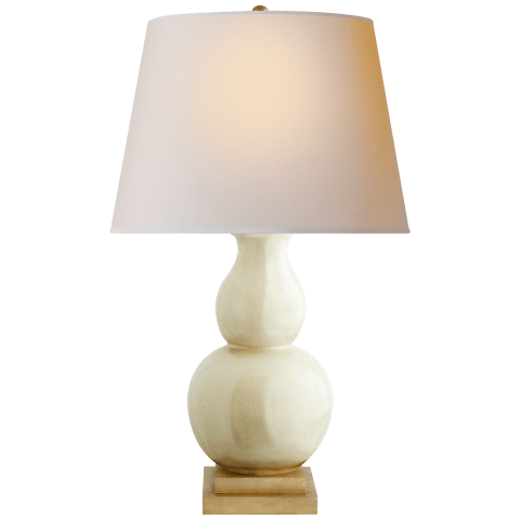 Gourd Form Large Table Lamp in Tea Stain with Natural Paper Shade