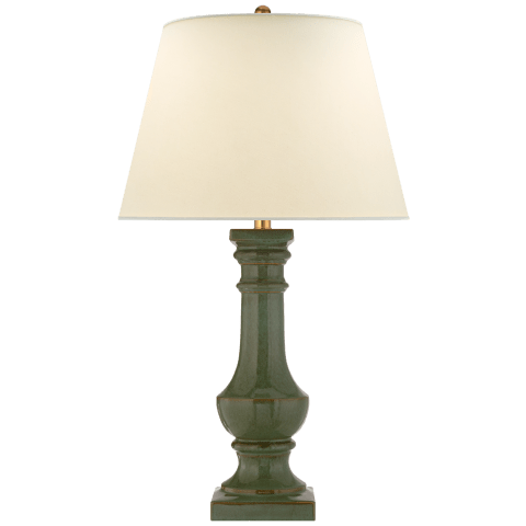 Round Balustrade Grande Table Lamp in Oslo Green with Natural Percale Shade
