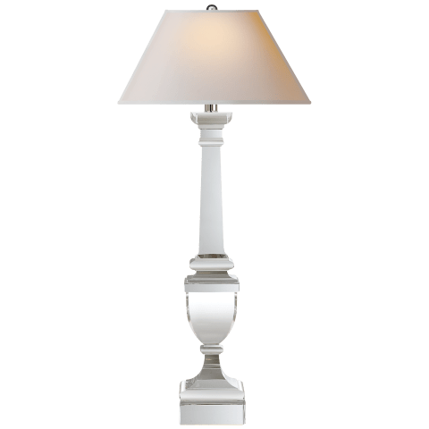 Gustavian Buffet Lamp in Crystal with Natural Paper Shade