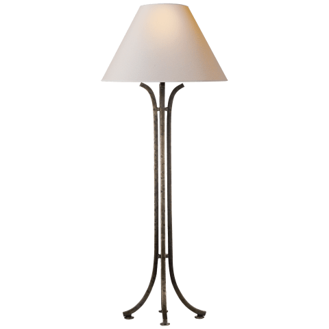 Tremayne Buffet Lamp in Aged Iron with Natural Paper Shade