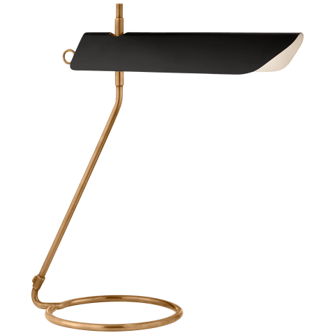 Miles Medium Task Lamp in Antique-Burnished Brass with Matte Black Shade