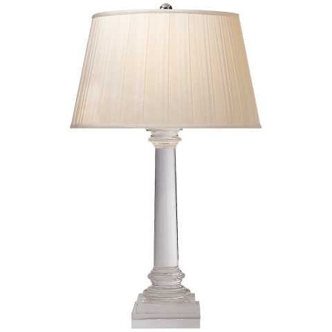 Slender Column Table Lamp in Crystal with Silk Box Pleated Shade