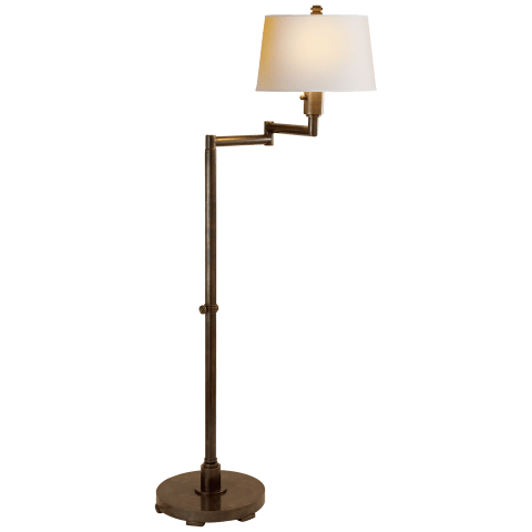 Chunky Swing Arm Floor Lamp in Bronze with Natural Paper Shade