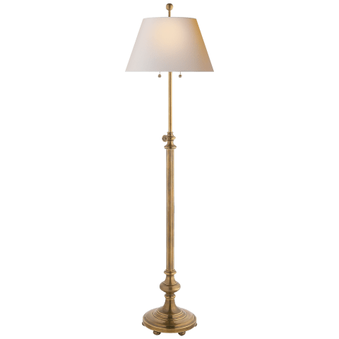 Overseas Adjustable Club Floor Lamp in Antique-Burnished Brass with Natural Paper Shade