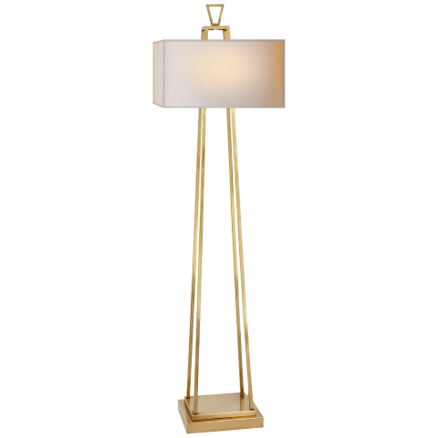 Modern Darlana Bouillotte Floor Lamp in Antique-Burnished Brass with Natural Paper Shade