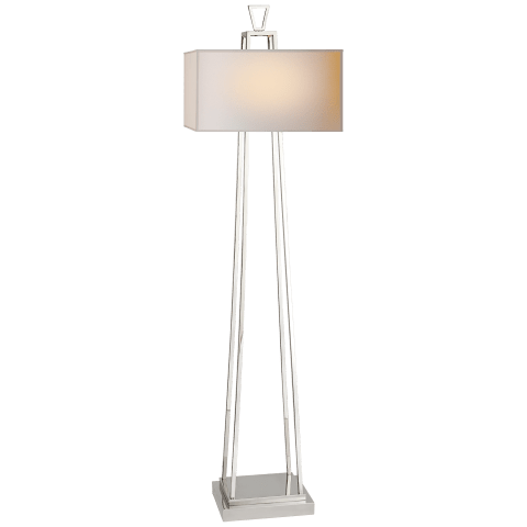 Modern Darlana Bouillotte Floor Lamp in Polished Nickel with Natural Paper Shade