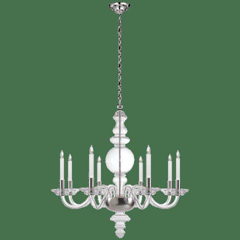 King George Grande Round Chandelier in Crystal with Polished Nickel