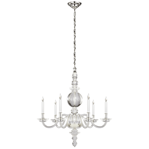 George II Large Chandelier in Crystal with Polished Nickel
