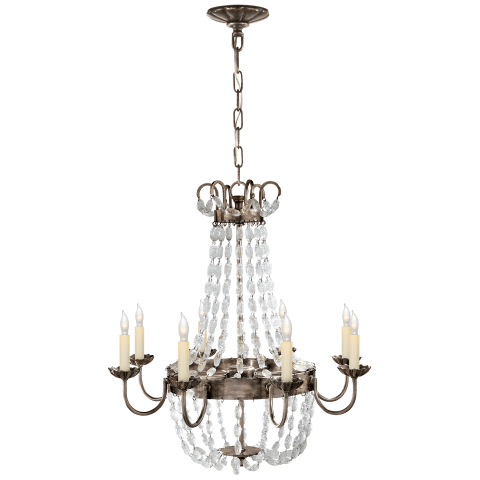 Paris Flea Market Medium Chandelier in Sheffield Silver and Seeded Glass