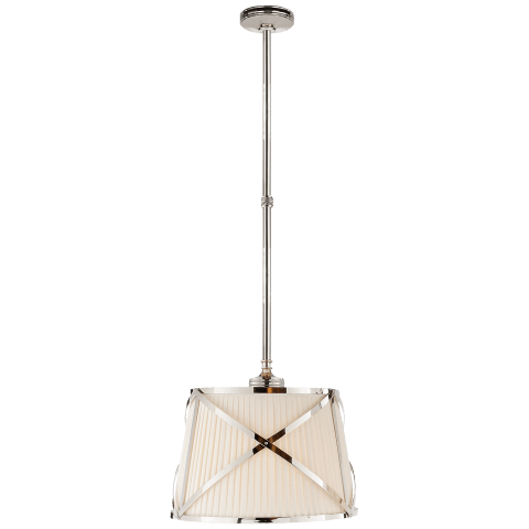 Grosvenor Single Hanging Shade in Polished Nickel with Linen Shade