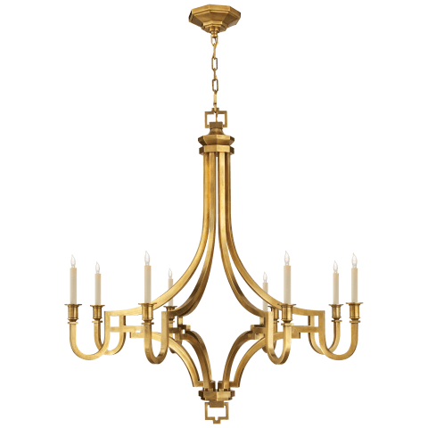 Mykonos Large Chandelier in Antique-Burnished Brass