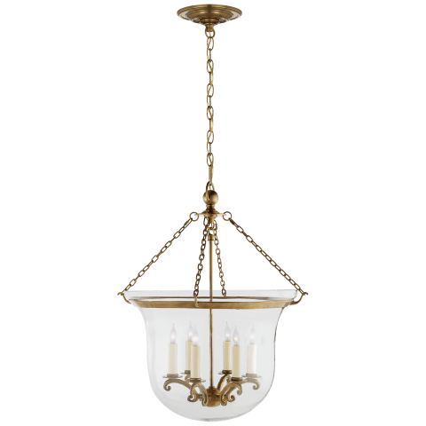 Country Large Bell Jar Lantern in Antique-Burnished Brass