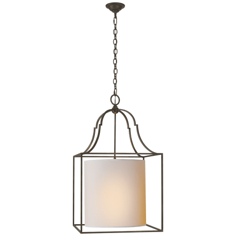 Gustavian Lantern in Aged Iron with Natural Paper Shade