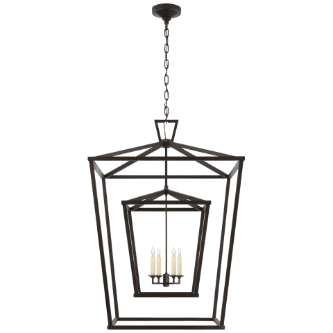 Darlana Extra Large Double Cage Lantern in Aged Iron
