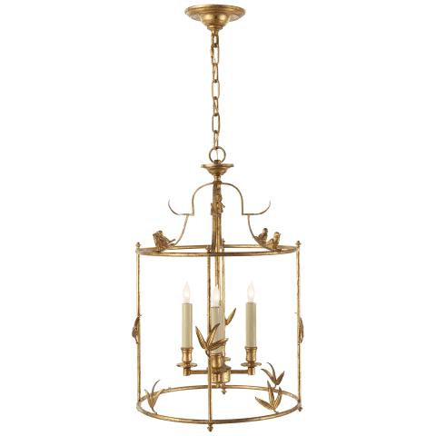 Diego Grande Classical Perching Bird Lantern in Gilded Iron