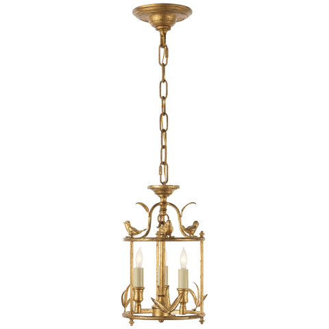 Diego Petite Classical Perching Bird Lantern in Gilded Iron
